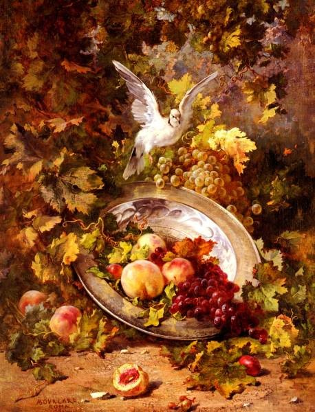 Peaches And Grapes With A Dove